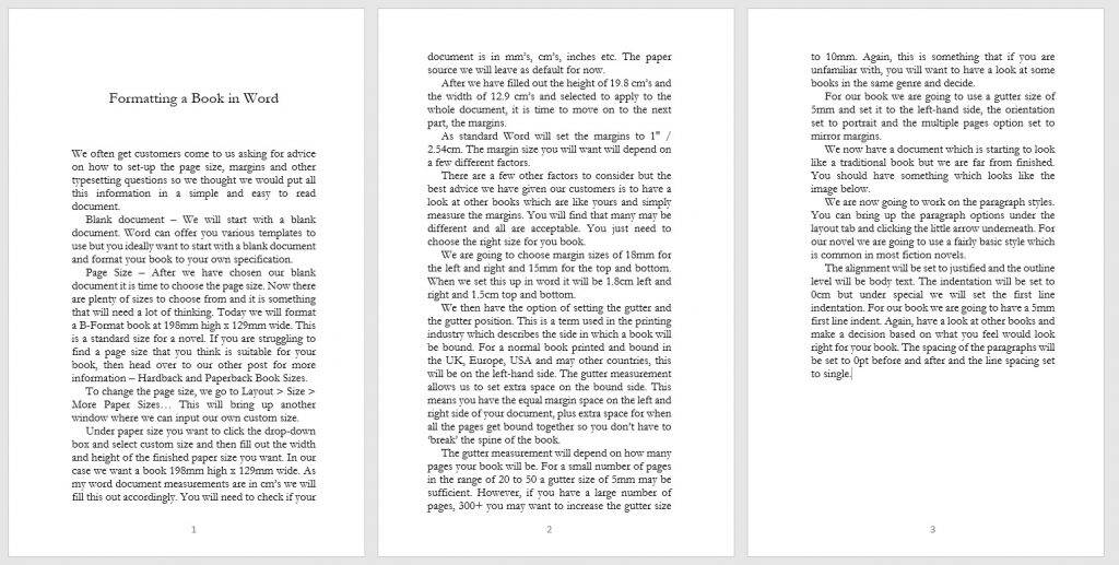Formatting a Book in Word